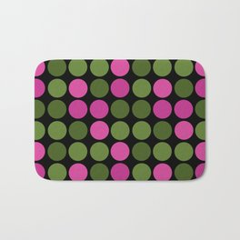 Pattern in pink and olive polka dots on black. Bath Mat