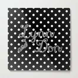 Retro Black and White Polka Dot with Couples' Names in Silver Metal Print