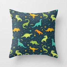 Dinosaur Space Adventure Throw Pillow