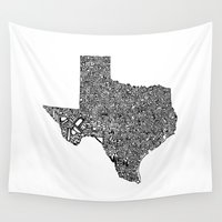 texas Wall Tapestries featuring Typographic Texas by CAPow!