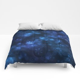 Blue Snowflakes Winter Christmas Pattern Comforters