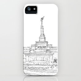 Reno Nevada LDS Temple Sketch iPhone Case