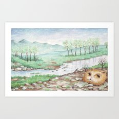 River Cat Art Print