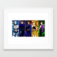 teen titans Framed Art Prints featuring 1D Titans by allthreeplease