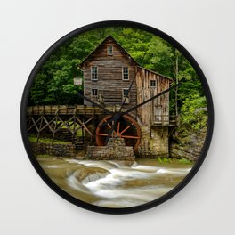 GLADE CREEK GRIST MILL SUMMER PHOTO - WEST VIRGINIA PICTURE - OLD MILL IMAGE - LANDSCAPE PHOTOGRAPHY Wall Clock