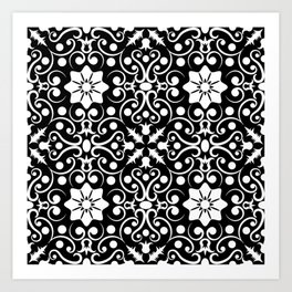 Black and White Ditsy Floral Vintage Art Design Pattern Art Print