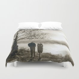 Waterside in Sepia Duvet Cover