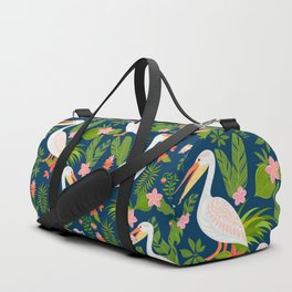 Decorative seamless pattern with pelicans, tropical flowers and leaves. Duffle Bag