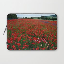 Pink Poppies in a field of Red Laptop Sleeve