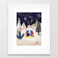 new year Framed Art Prints featuring New Year by callmekim