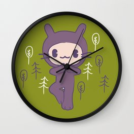 Yoga Pose Tree Bunny Wall Clock