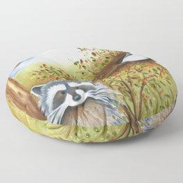 Silly Dog  Jack Russell Terrier, Raccoon, Landscape Painting, Original Art Floor Pillow