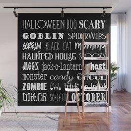 Halloween Typography Black Wall Mural