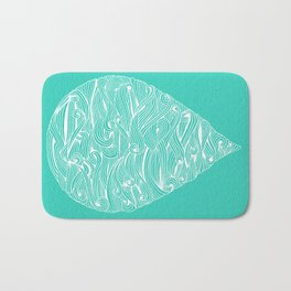 Water Drop – White on Turquoise Bath Mat
