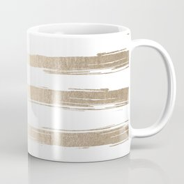 Simply Brushed Stripes White Gold Sands on White Coffee Mug