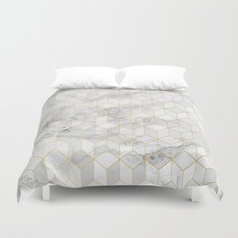 White Marble with Gold Cube Pattern Duvet Cover