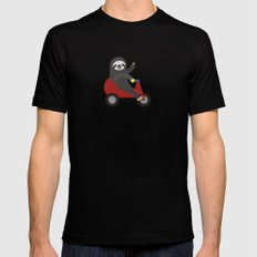 Sloth on Tricycle SMALL Mens Fitted Tee Black