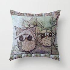 Owl couple Throw Pillow
