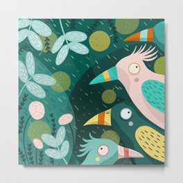 Birds in the jungle - green and pink Metal Print