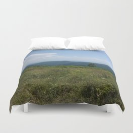 Meadow and mountains in the distance Duvet Cover
