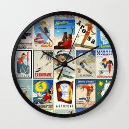Vintage Skiing Posters Wall Clock