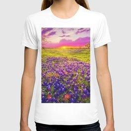 Blue Bonnet Sunset landscape painting T-shirt