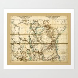Map of East Africa (1890) Art Print