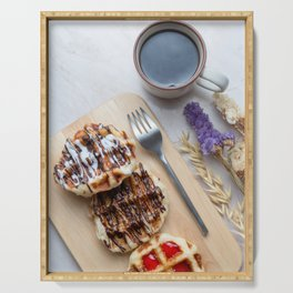 Waffles with black coffee Serving Tray