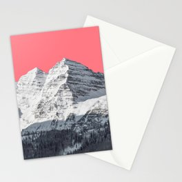 Snow mountain surreal landscape and a pink sky Stationery Cards