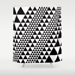Geometric Pattern #39 (black triangles) Shower Curtain