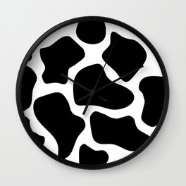 Cow Black and White Pattern Wall Clock