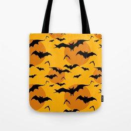 Abstract orange yellow black halloween bats animal pattern Tote Bag