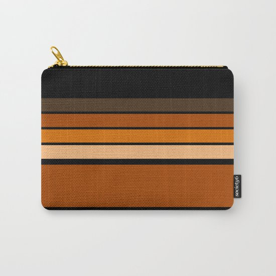Black and yellow , brown and orange striped pattern . Carry-All Pouch