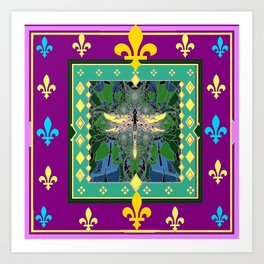 Yellow Dragonfly Purple Fleur de Lys Abstract Art Print