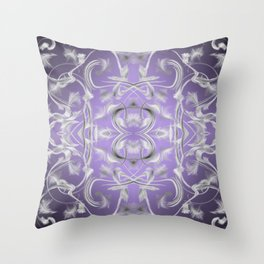 silver in purple Digital pattern with circles and fractals artfully colored design for house Throw Pillow