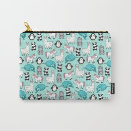 Narwhal,Unicorn, Panda, Llama, Penguin, Hippo, Animal Print For Girls Carry-All Pouch