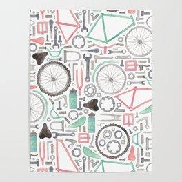 Cycling Bike Parts Poster
