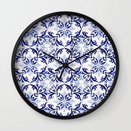 blue tile pattern VI - Azulejos, Portuguese tiles Wall Clock