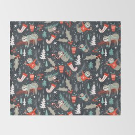 Slothy Holidays Throw Blanket