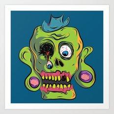 Zombie Skull Art Print