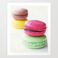 macaron Art Prints featuring Macaron by Natalia Valle