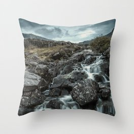 Valley of Waterfalls III Throw Pillow