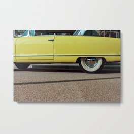 Retro yellow car Metal Print