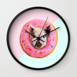 Pig Strawberry Donut Wall Clock