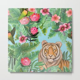 Jungle Tiger Tropical lovebirds Art by Magenta Rose Designs Metal Print