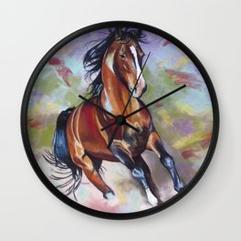 Contemporary Stallion Horse Painting Wall Clock