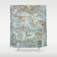 jewish Shower Curtains featuring Marble in shades of blue and gold by Brown Eyed Lady