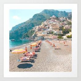 perfect beach day - Positano, Italy Art Print