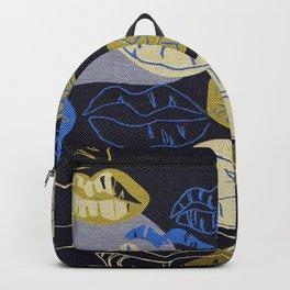 Woven Jacquard Lips Pattern Backpack