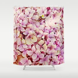 Pastel pink lilac botanical hydrangea floral Shower Curtain